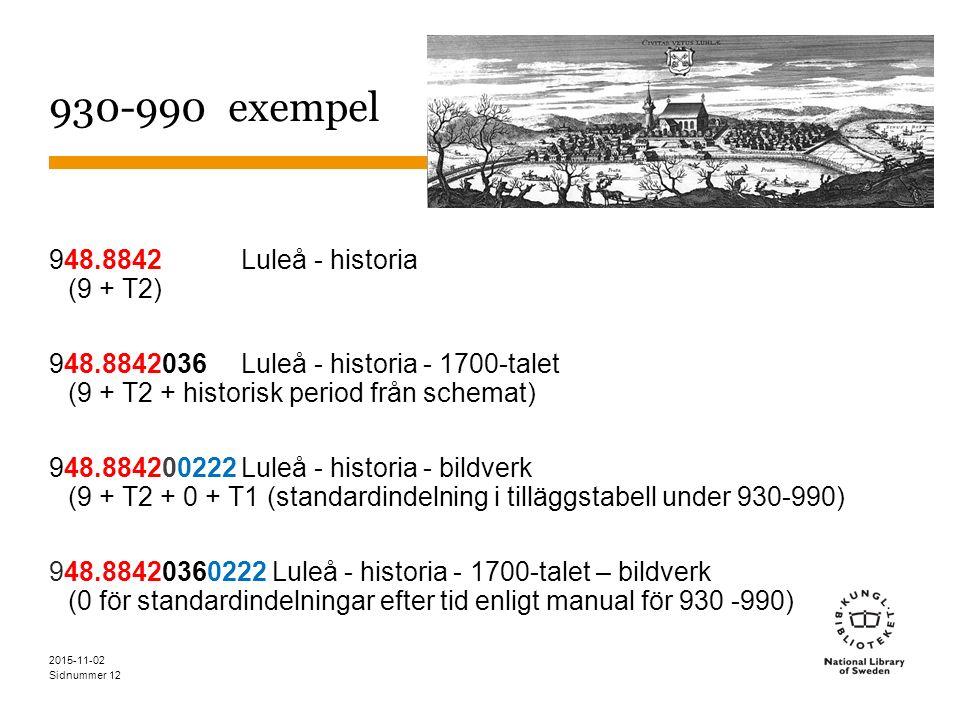 Sidnummer 12 930-990 exempel 948.8842Luleå - historia (9 + T2) 948.8842036Luleå - historia - 1700-talet (9 + T2 + historisk period från schemat) 948.884200222Luleå - historia - bildverk (9 + T2 + 0 + T1 (standardindelning i tilläggstabell under 930-990) 948.88420360222 Luleå - historia - 1700-talet – bildverk (0 för standardindelningar efter tid enligt manual för 930 -990) 2015-11-02