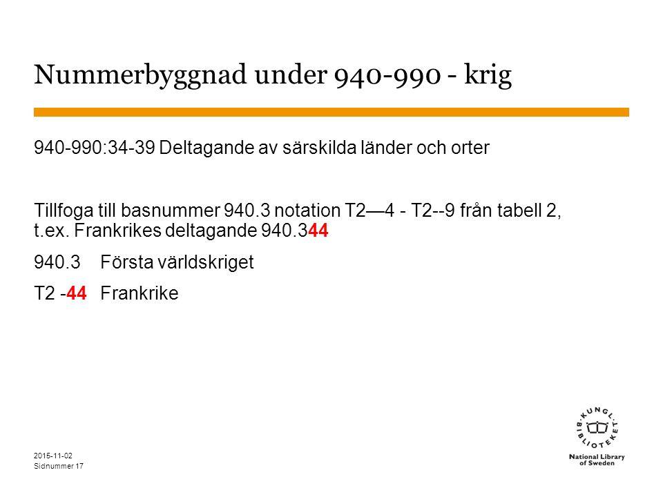 Sidnummer 17 Nummerbyggnad under 940-990 - krig 940-990:34-39 Deltagande av särskilda länder och orter Tillfoga till basnummer 940.3 notation T2—4 - T2--9 från tabell 2, t.ex.