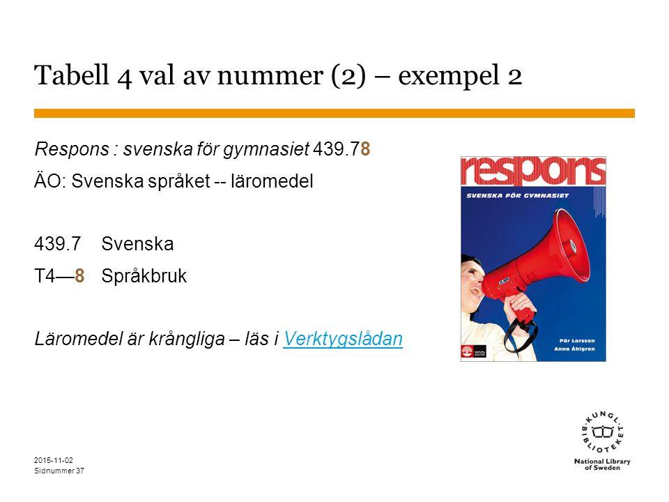 Sidnummer Tabell 4 val av nummer (2) – exempel 2 Respons : svenska för gymnasiet 439.78 ÄO: Svenska språket -- läromedel 439.7Svenska T4—8Språkbruk Lä