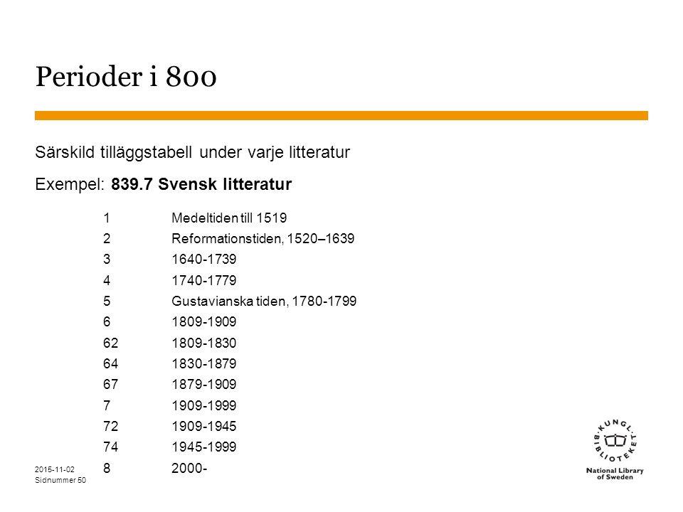 Sidnummer 2015-11-02 50 Perioder i 800 Särskild tilläggstabell under varje litteratur Exempel: 839.7 Svensk litteratur 1Medeltiden till 1519 2Reformat