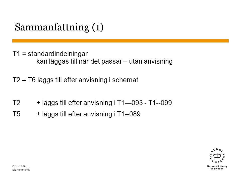 Sidnummer 67 Sammanfattning (1) T1 = standardindelningar kan läggas till när det passar – utan anvisning T2 – T6 läggs till efter anvisning i schemat T2+ läggs till efter anvisning i T1—093 - T1--099 T5 + läggs till efter anvisning i T1--089 2015-11-02