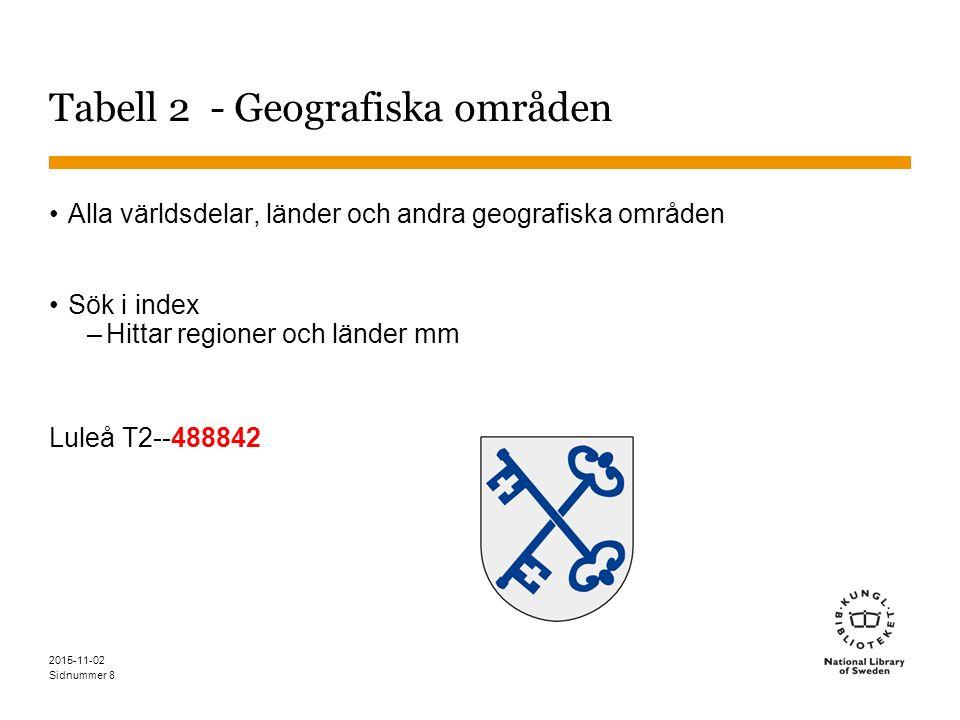 Sidnummer 8 Tabell 2 - Geografiska områden Alla världsdelar, länder och andra geografiska områden Sök i index –Hittar regioner och länder mm Luleå T2--488842 2015-11-02