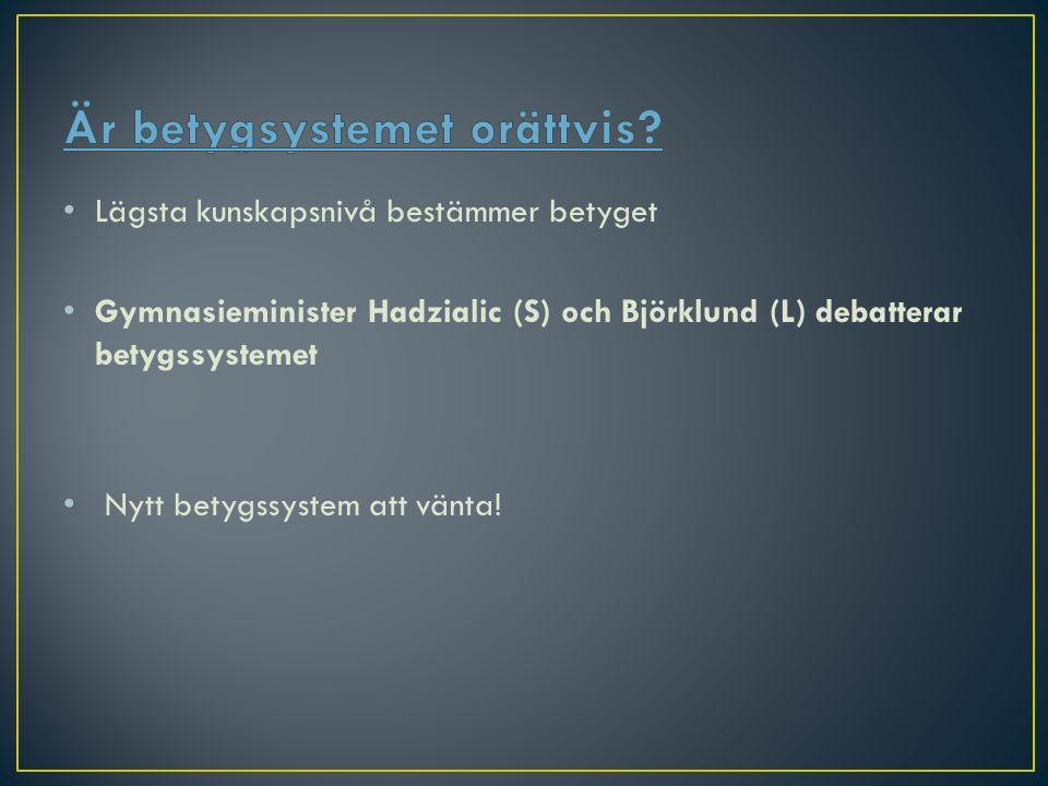 Lägsta kunskapsnivå bestämmer betyget Gymnasieminister Hadzialic (S) och Björklund (L) debatterar betygssystemet Nytt betygssystem att vänta!