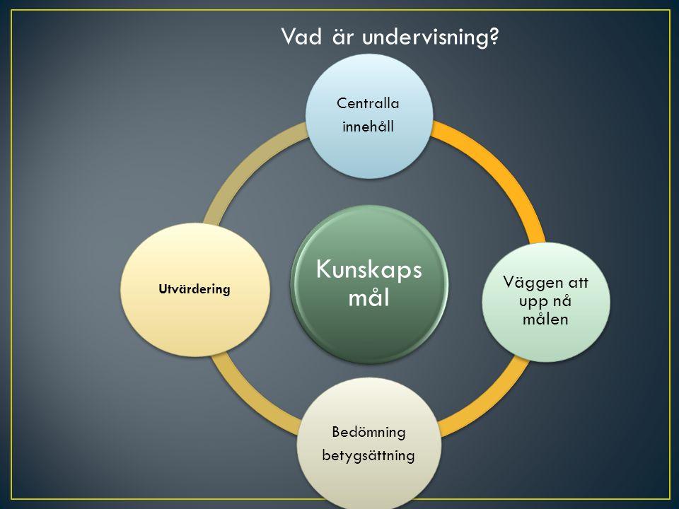 Kunskaps mål Centralla innehåll Väggen att upp nå målen Bedömning betygsättning Utvärdering Vad är undervisning