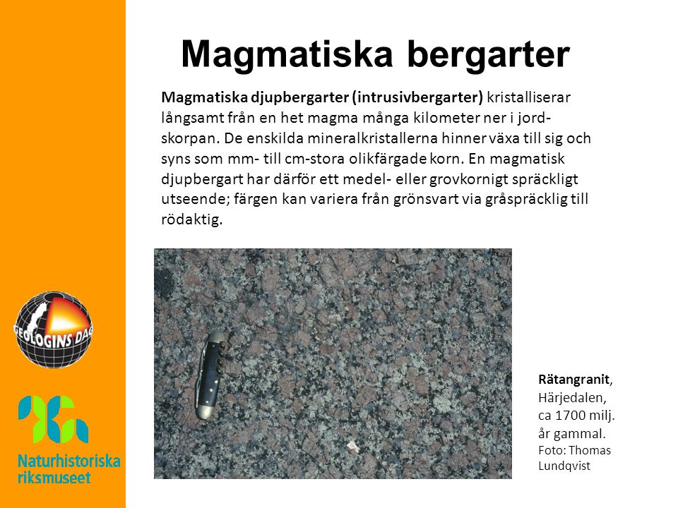 Magmatiska bergarter Magmatiska djupbergarter (intrusivbergarter) kristalliserar långsamt från en het magma många kilometer ner i jord- skorpan. De en