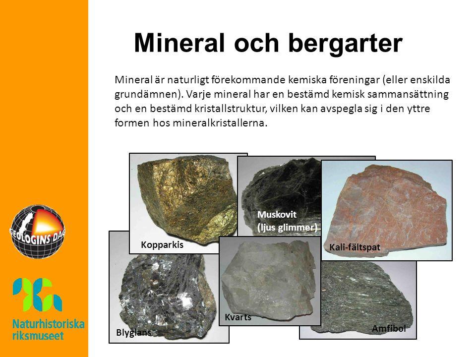 Mineral och bergarter Mineral är naturligt förekommande kemiska föreningar (eller enskilda grundämnen).