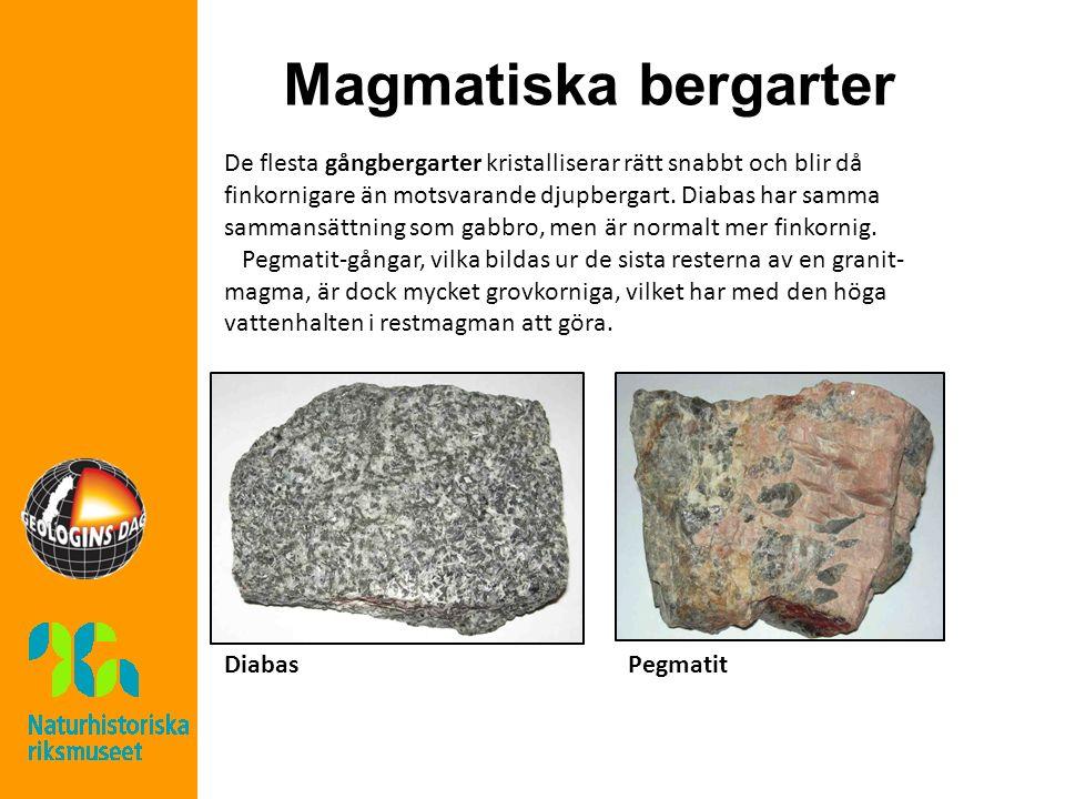 Magmatiska bergarter De flesta gångbergarter kristalliserar rätt snabbt och blir då finkornigare än motsvarande djupbergart.