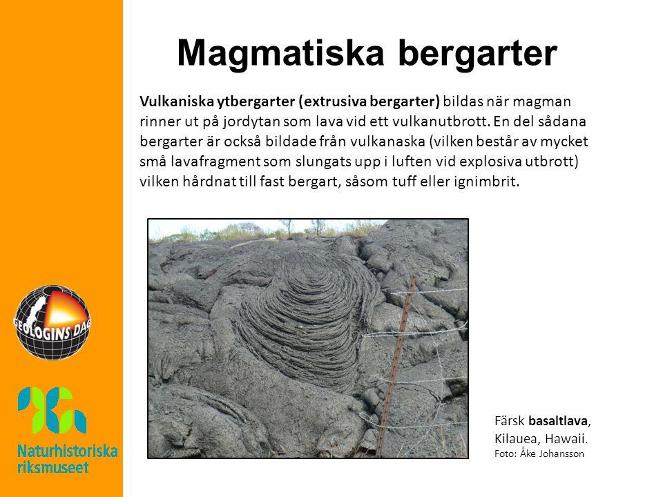 Magmatiska bergarter Vulkaniska ytbergarter (extrusiva bergarter) bildas när magman rinner ut på jordytan som lava vid ett vulkanutbrott.