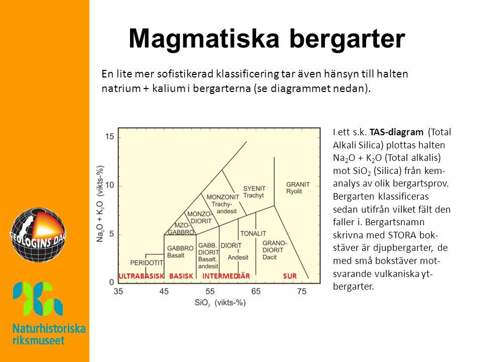 Magmatiska bergarter En lite mer sofistikerad klassificering tar även hänsyn till halten natrium + kalium i bergarterna (se diagrammet nedan).
