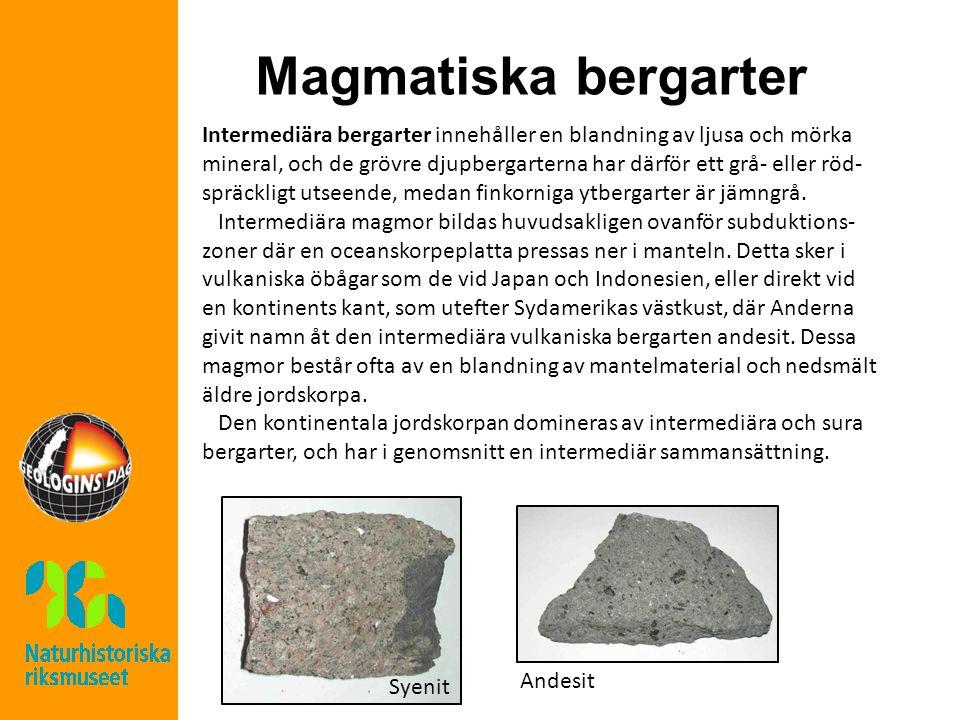 Magmatiska bergarter Intermediära bergarter innehåller en blandning av ljusa och mörka mineral, och de grövre djupbergarterna har därför ett grå- eller röd- spräckligt utseende, medan finkorniga ytbergarter är jämngrå.