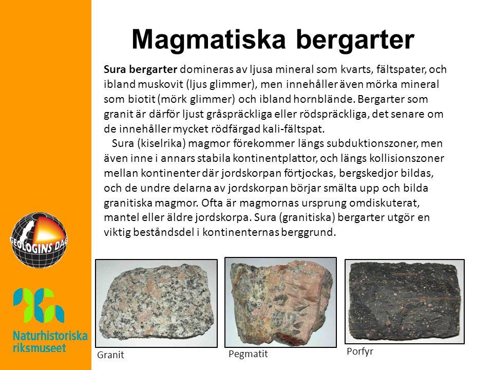 Magmatiska bergarter Sura bergarter domineras av ljusa mineral som kvarts, fältspater, och ibland muskovit (ljus glimmer), men innehåller även mörka mineral som biotit (mörk glimmer) och ibland hornblände.