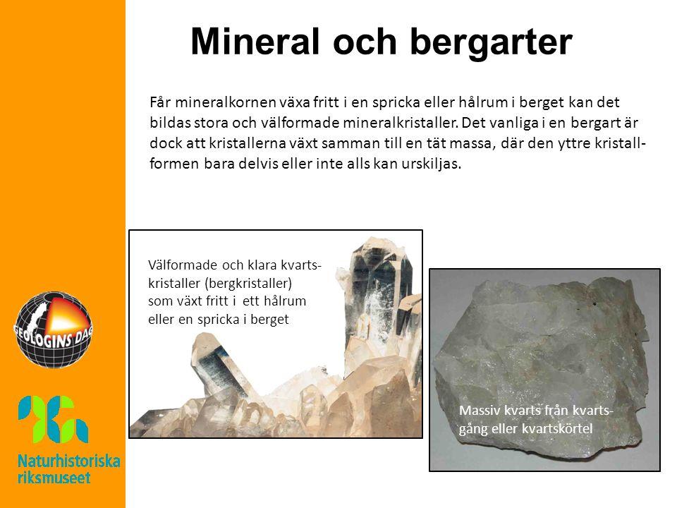 Mineral och bergarter Massiv kvarts från kvarts- gång eller kvartskörtel Välformade och klara kvarts- kristaller (bergkristaller) som växt fritt i ett hålrum eller en spricka i berget Får mineralkornen växa fritt i en spricka eller hålrum i berget kan det bildas stora och välformade mineralkristaller.