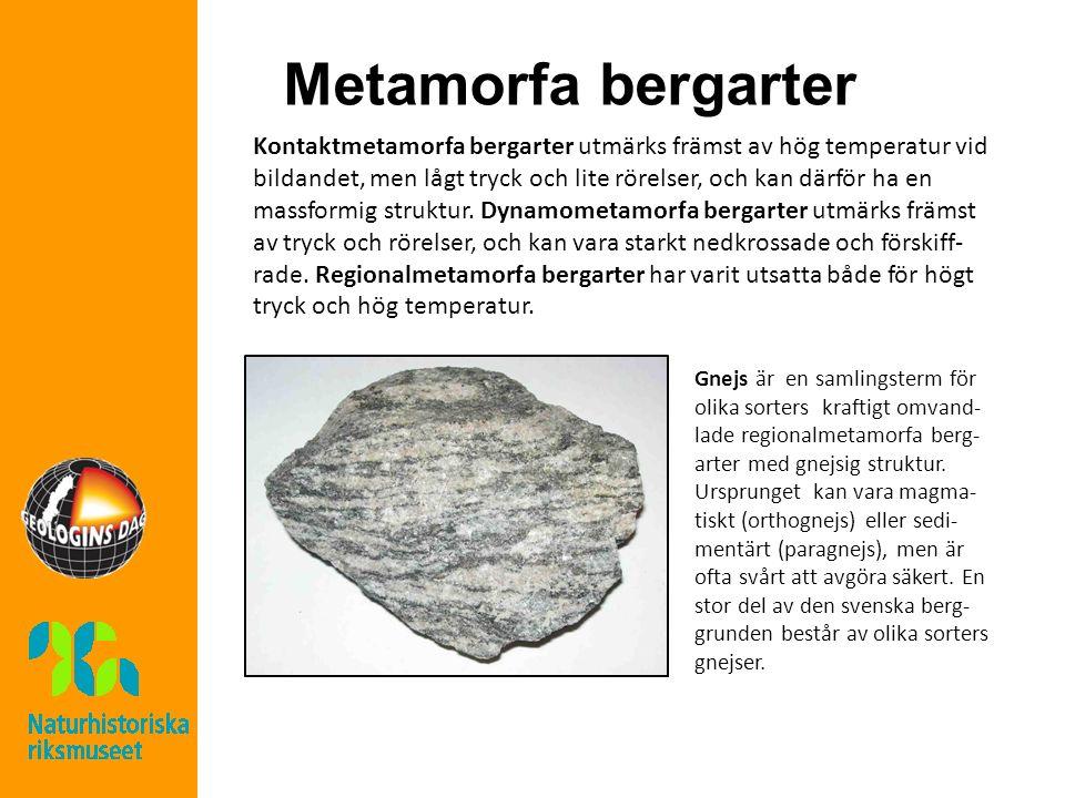 Metamorfa bergarter Kontaktmetamorfa bergarter utmärks främst av hög temperatur vid bildandet, men lågt tryck och lite rörelser, och kan därför ha en