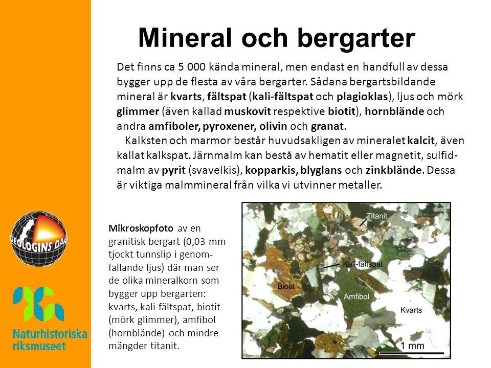 Mineral och bergarter Det finns ca 5 000 kända mineral, men endast en handfull av dessa bygger upp de flesta av våra bergarter. Sådana bergartsbildand