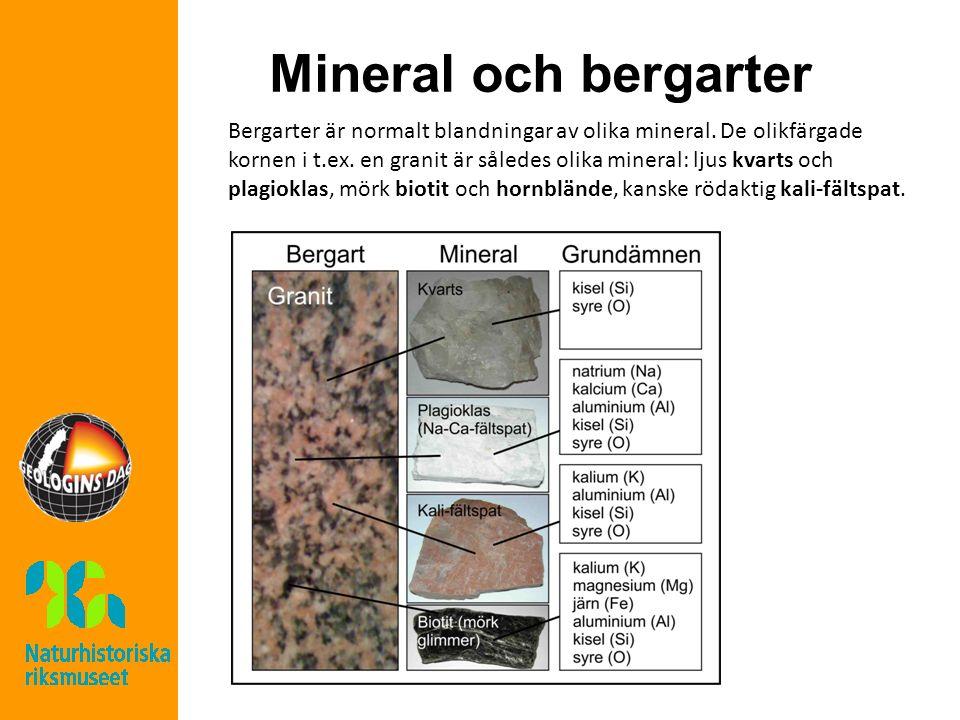 Mineral och bergarter Bergarter är normalt blandningar av olika mineral. De olikfärgade kornen i t.ex. en granit är således olika mineral: ljus kvarts