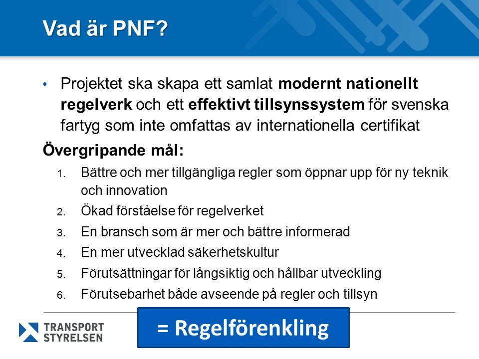 Vad är PNF? Projektet ska skapa ett samlat modernt nationellt regelverk och ett effektivt tillsynssystem för svenska fartyg som inte omfattas av inter
