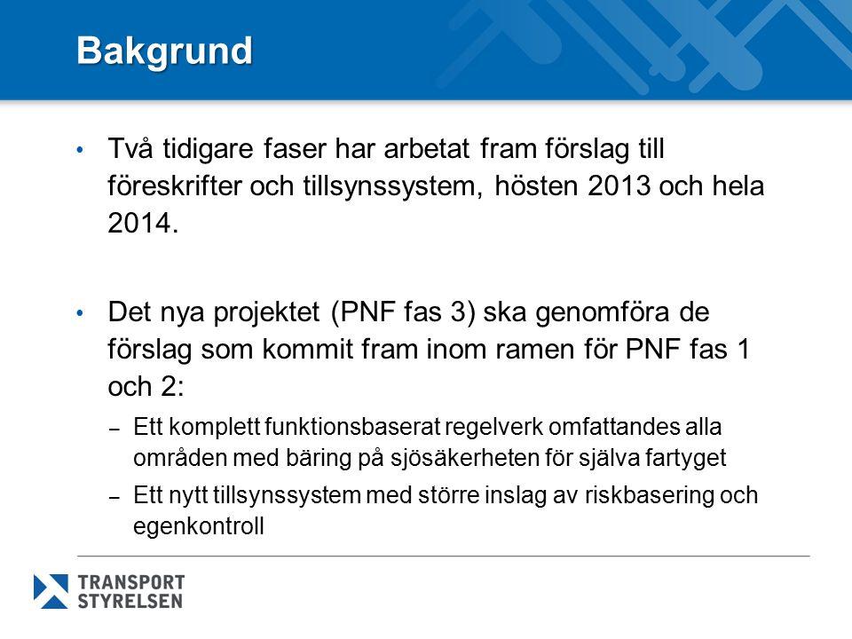Bakgrund Två tidigare faser har arbetat fram förslag till föreskrifter och tillsynssystem, hösten 2013 och hela 2014. Det nya projektet (PNF fas 3) sk
