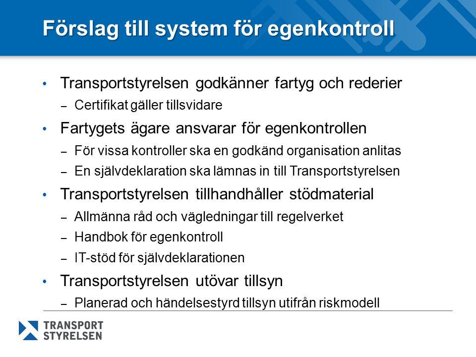 Förslag till system för egenkontroll Transportstyrelsen godkänner fartyg och rederier – Certifikat gäller tillsvidare Fartygets ägare ansvarar för ege