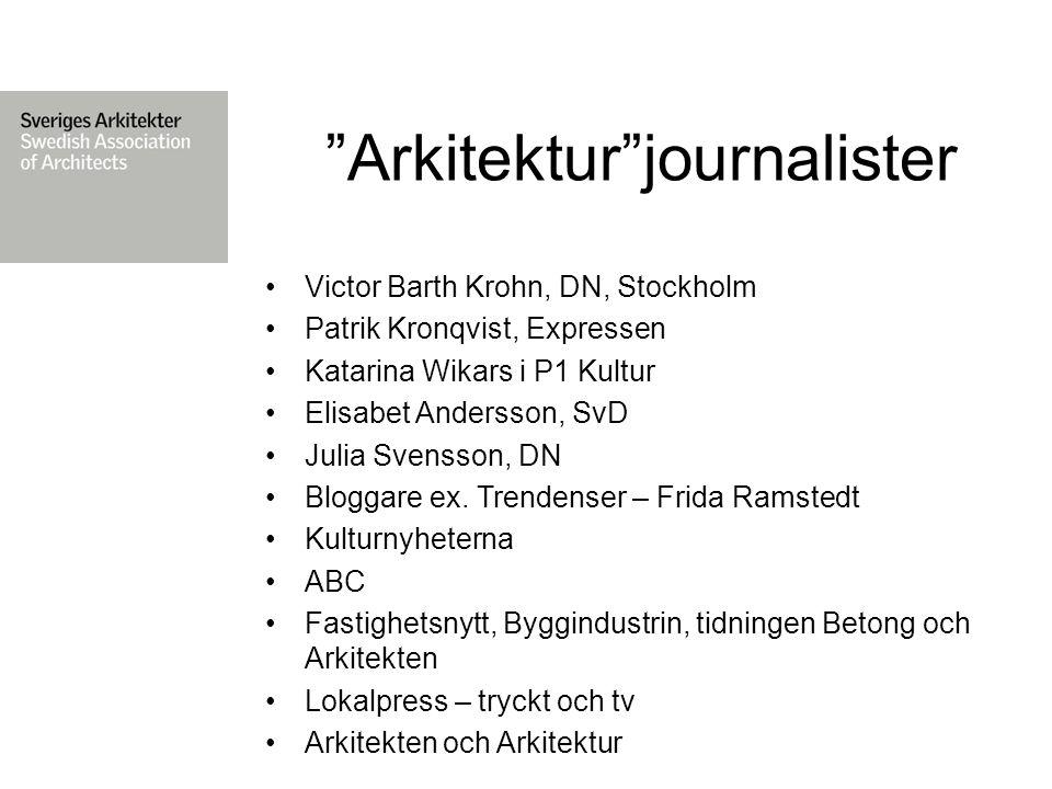Arkitektur journalister Victor Barth Krohn, DN, Stockholm Patrik Kronqvist, Expressen Katarina Wikars i P1 Kultur Elisabet Andersson, SvD Julia Svensson, DN Bloggare ex.
