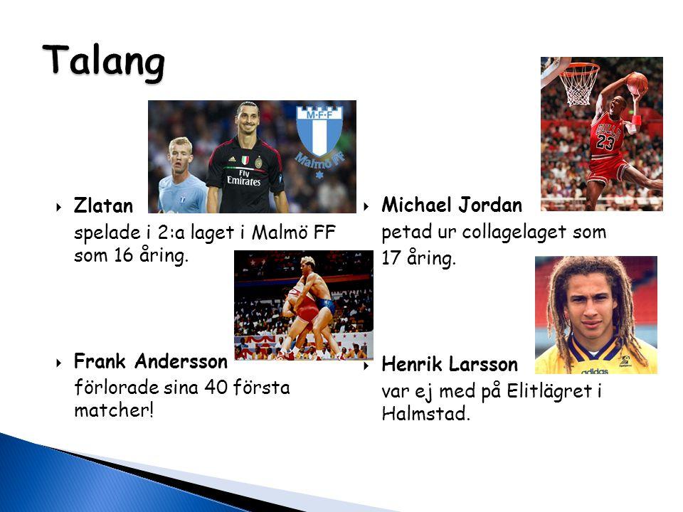  Zlatan spelade i 2:a laget i Malmö FF som 16 åring.  Frank Andersson förlorade sina 40 första matcher!  Michael Jordan petad ur collagelaget som 1