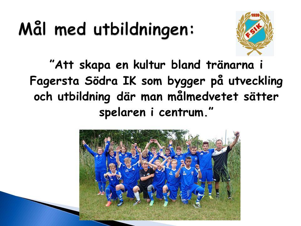 """""""Att skapa en kultur bland tränarna i Fagersta Södra IK som bygger på utveckling och utbildning där man målmedvetet sätter spelaren i centrum."""""""