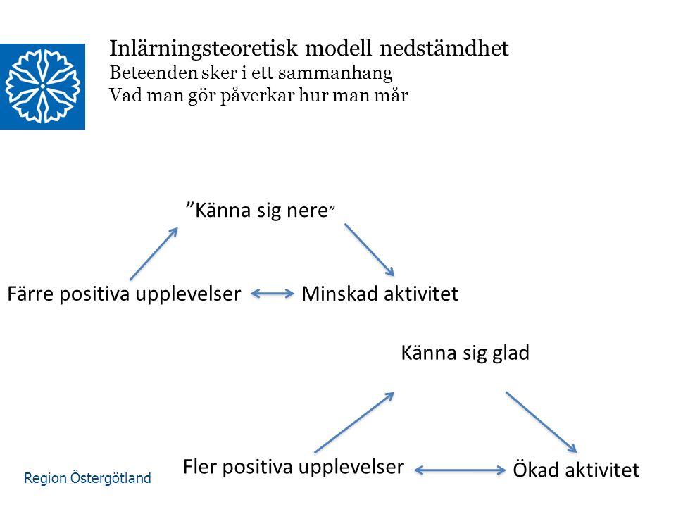 """Region Östergötland Inlärningsteoretisk modell nedstämdhet Beteenden sker i ett sammanhang Vad man gör påverkar hur man mår """"Känna sig nere """" Minskad"""