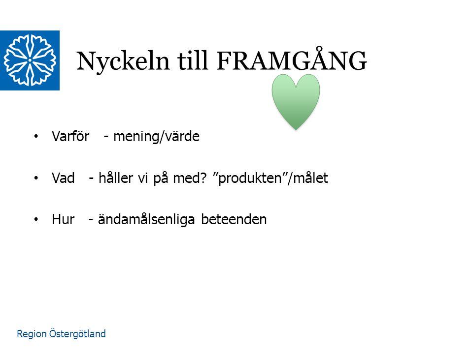 """Region Östergötland Nyckeln till FRAMGÅNG Varför - mening/värde Vad - håller vi på med? """"produkten""""/målet Hur - ändamålsenliga beteenden"""