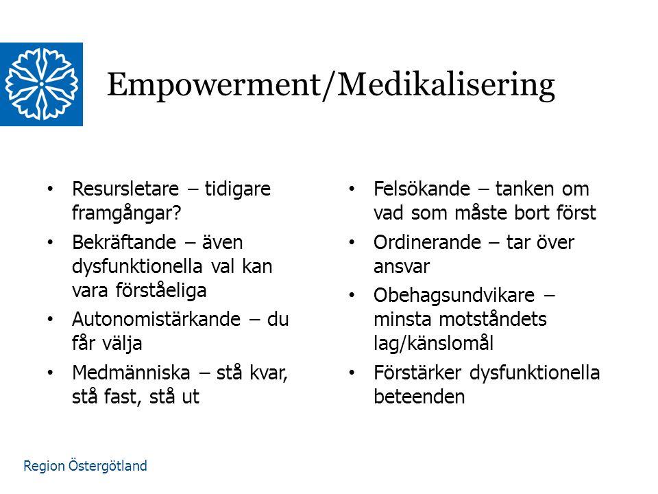 Region Östergötland Empowerment/Medikalisering Resursletare – tidigare framgångar? Bekräftande – även dysfunktionella val kan vara förståeliga Autonom