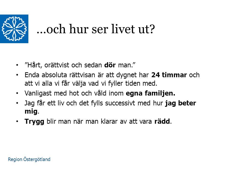 """Region Östergötland """"Hårt, orättvist och sedan dör man."""" Enda absoluta rättvisan är att dygnet har 24 timmar och att vi alla vi får välja vad vi fylle"""