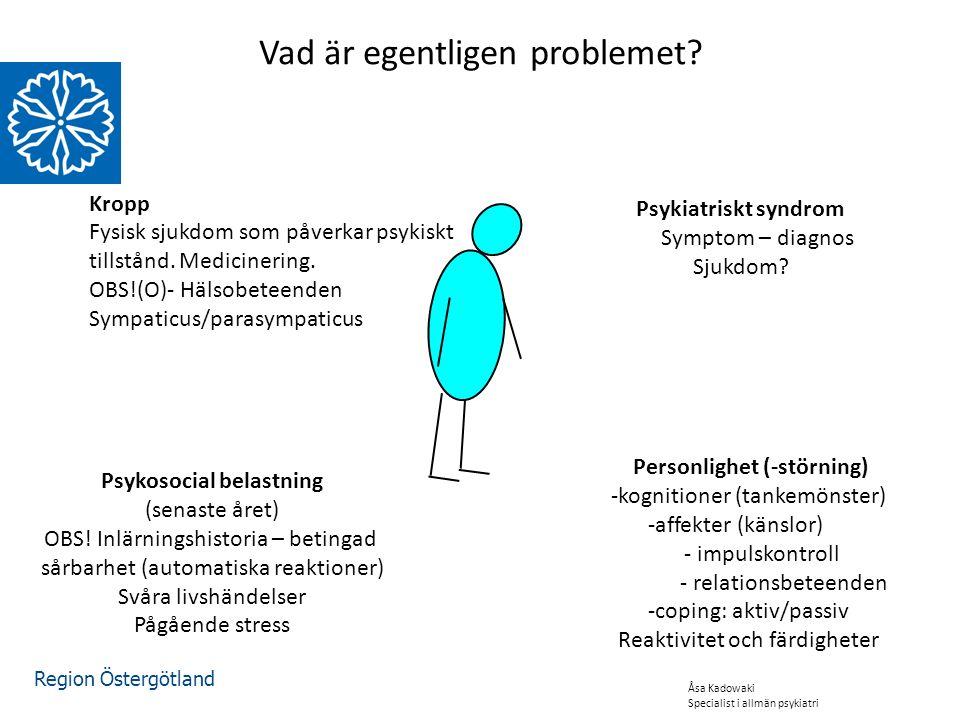 Region Östergötland Vad är egentligen problemet. Psykiatriskt syndrom Symptom – diagnos Sjukdom.
