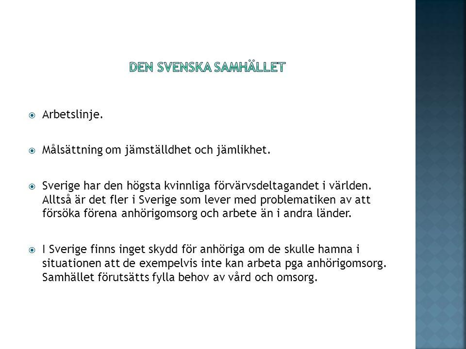  Arbetslinje.  Målsättning om jämställdhet och jämlikhet.  Sverige har den högsta kvinnliga förvärvsdeltagandet i världen. Alltså är det fler i Sve