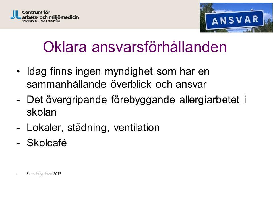 Oklara ansvarsförhållanden Idag finns ingen myndighet som har en sammanhållande överblick och ansvar -Det övergripande förebyggande allergiarbetet i s