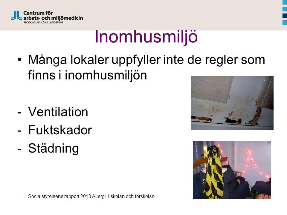 Inomhusmiljö Många lokaler uppfyller inte de regler som finns i inomhusmiljön -Ventilation -Fuktskador -Städning -Socialstyrelsens rapport 2013 Allerg