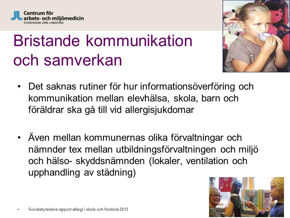 Bristande kommunikation och samverkan Det saknas rutiner för hur informationsöverföring och kommunikation mellan elevhälsa, skola, barn och föräldrar
