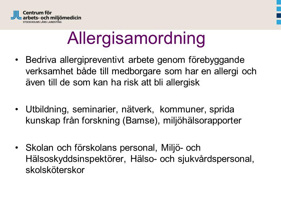 Allergisamordning Bedriva allergipreventivt arbete genom förebyggande verksamhet både till medborgare som har en allergi och även till de som kan ha risk att bli allergisk Utbildning, seminarier, nätverk, kommuner, sprida kunskap från forskning (Bamse), miljöhälsorapporter Skolan och förskolans personal, Miljö- och Hälsoskyddsinspektörer, Hälso- och sjukvårdspersonal, skolsköterskor