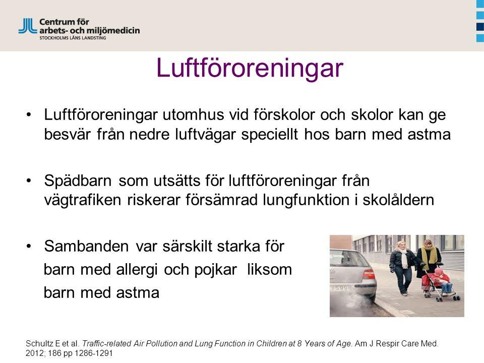 Luftföroreningar Luftföroreningar utomhus vid förskolor och skolor kan ge besvär från nedre luftvägar speciellt hos barn med astma Spädbarn som utsätt