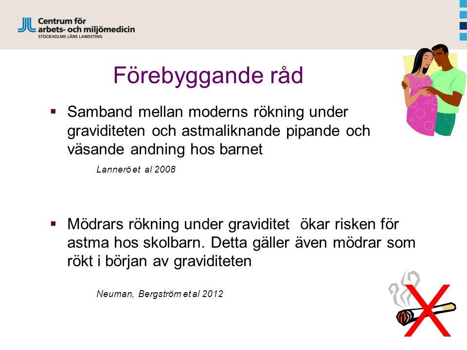 Förebyggande råd  Samband mellan moderns rökning under graviditeten och astmaliknande pipande och väsande andning hos barnet Lannerö et al 2008  Mödrars rökning under graviditet ökar risken för astma hos skolbarn.