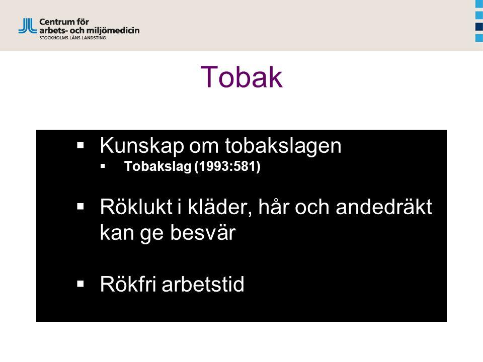 Tobak  Kunskap om tobakslagen  Tobakslag (1993:581)  Röklukt i kläder, hår och andedräkt kan ge besvär  Rökfri arbetstid