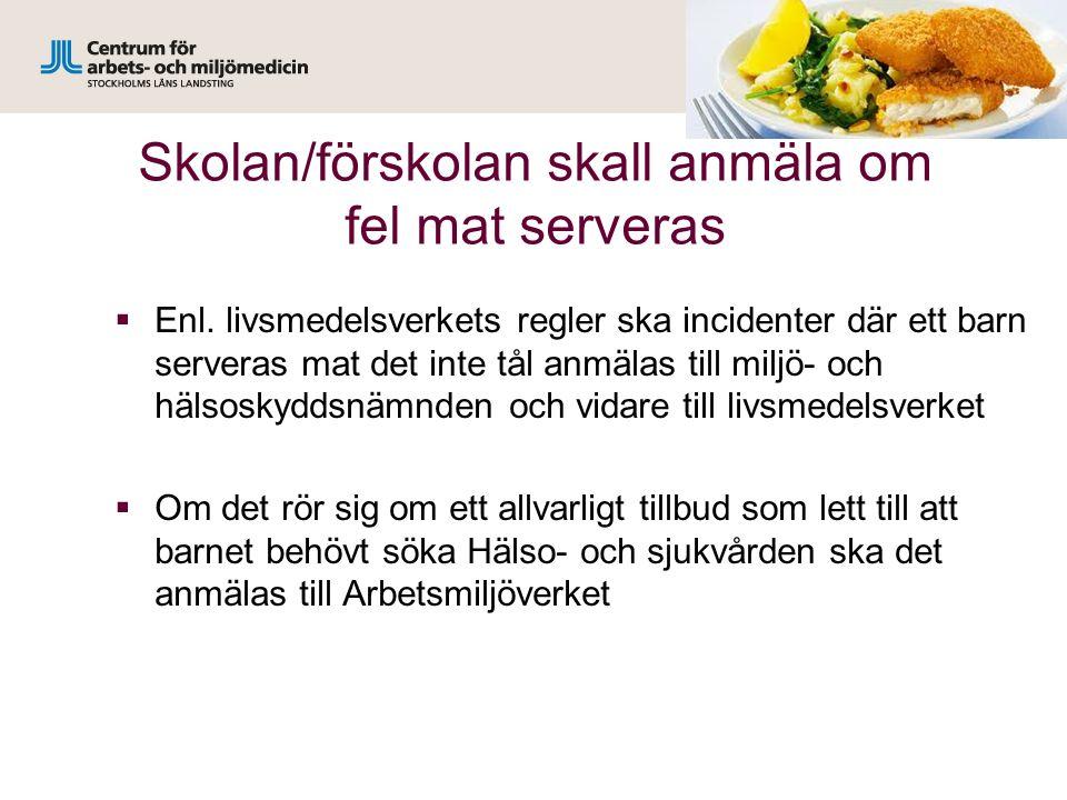 Skolan/förskolan skall anmäla om fel mat serveras  Enl.