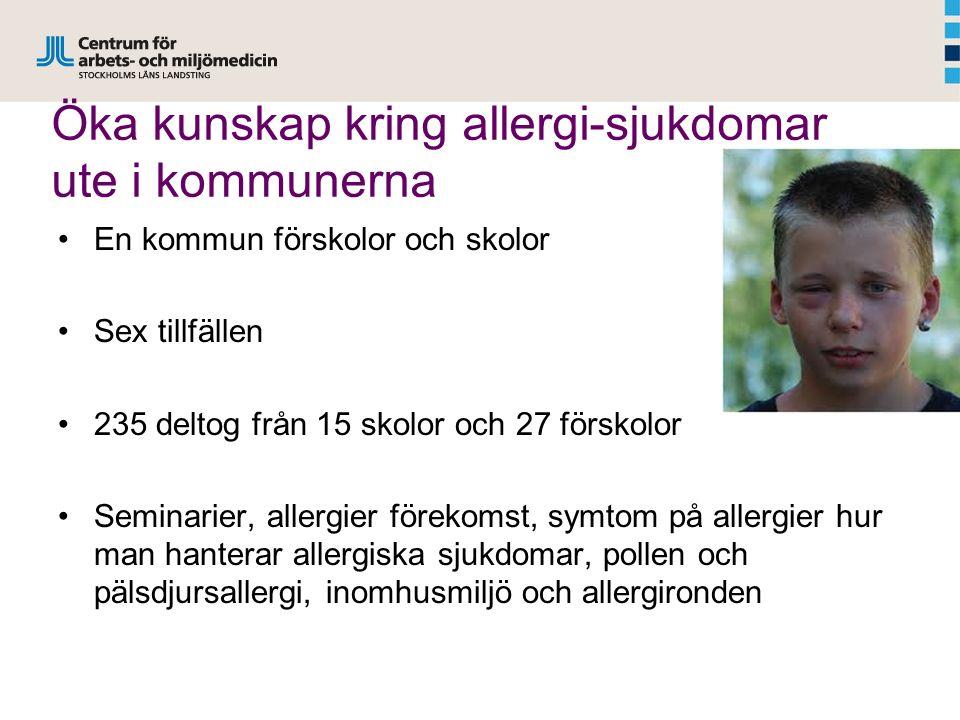 Öka kunskap kring allergi-sjukdomar ute i kommunerna En kommun förskolor och skolor Sex tillfällen 235 deltog från 15 skolor och 27 förskolor Seminarier, allergier förekomst, symtom på allergier hur man hanterar allergiska sjukdomar, pollen och pälsdjursallergi, inomhusmiljö och allergironden