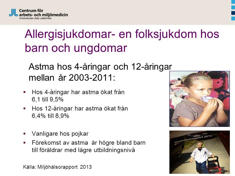 Allergisjukdomar- en folksjukdom hos barn och ungdomar Astma hos 4-åringar och 12-åringar mellan år 2003-2011:  Hos 4-åringar har astma ökat från 6,1 till 9,5%  Hos 12-åringar har astma ökat från 6,4% till 8,9%  Vanligare hos pojkar  Förekomst av astma är högre bland barn till föräldrar med lägre utbildningsnivå Källa: Miljöhälsorapport 2013 5