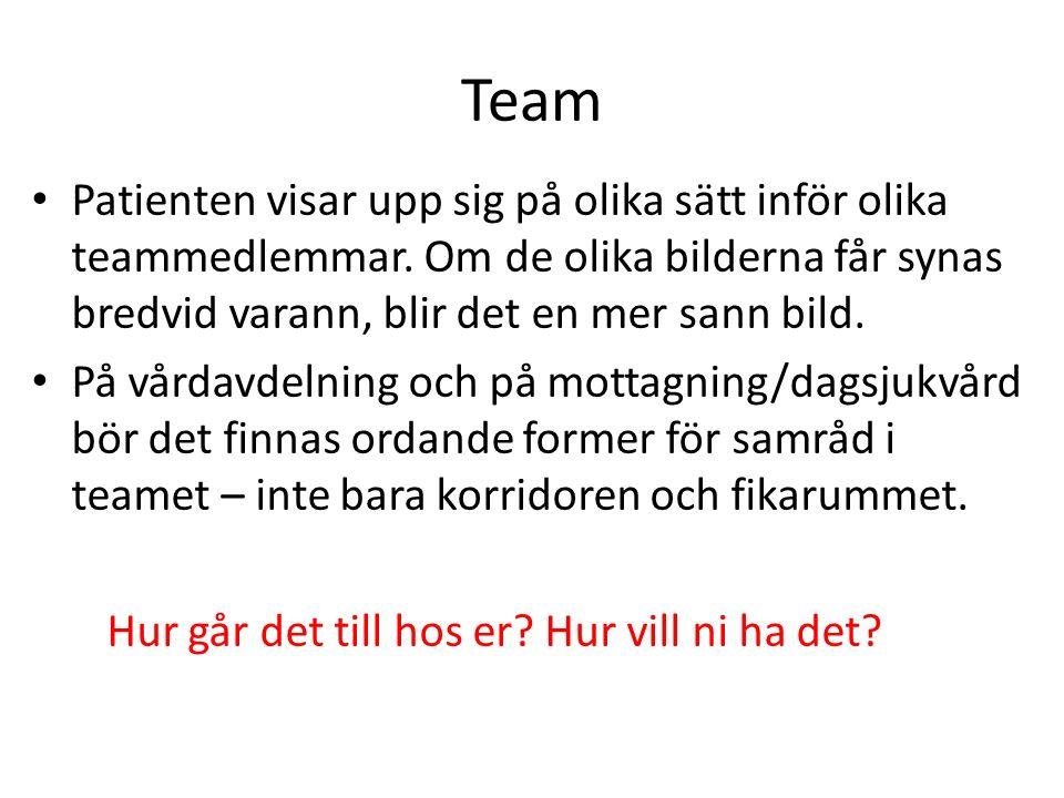 Team Patienten visar upp sig på olika sätt inför olika teammedlemmar.
