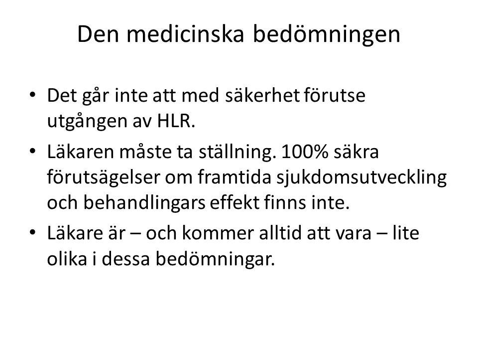 Den medicinska bedömningen Det går inte att med säkerhet förutse utgången av HLR.