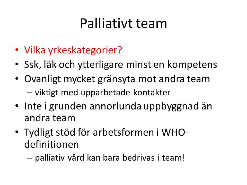 Fast vårdkontakt Kontinuitet är centralt inom palliativ vård Teamet ska organisera sig så att det blir så hög grad av kontinuitet som möjligt 365 dygn per år.