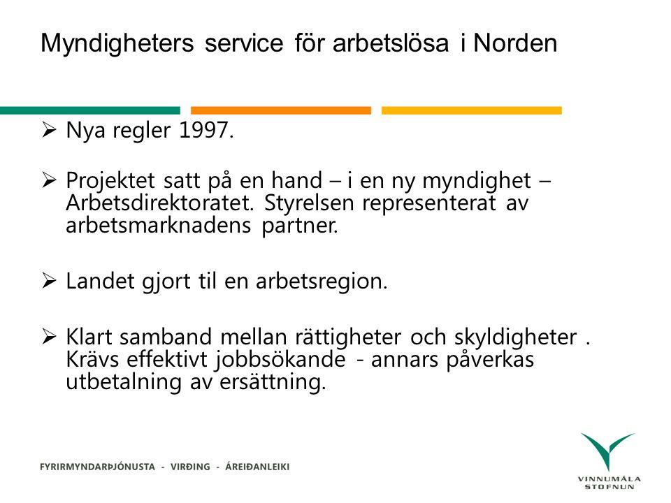 Myndigheters service för arbetslösa i Norden  Nya regler 1997.