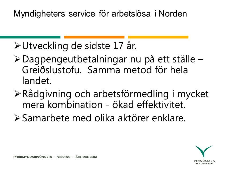 Myndigheters service för arbetslösa i Norden  Utveckling de sidste 17 år.