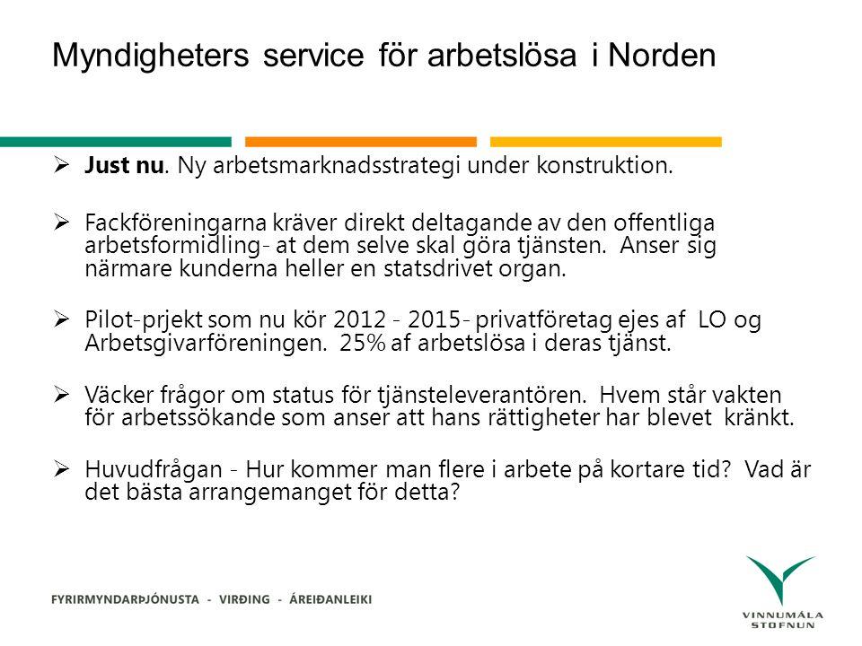 Myndigheters service för arbetslösa i Norden  Just nu.