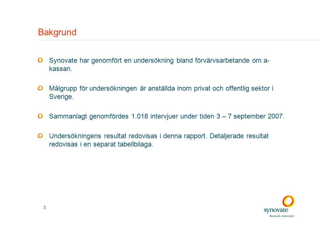 3 Bakgrund Synovate har genomfört en undersökning bland förvärvsarbetande om a- kassan.
