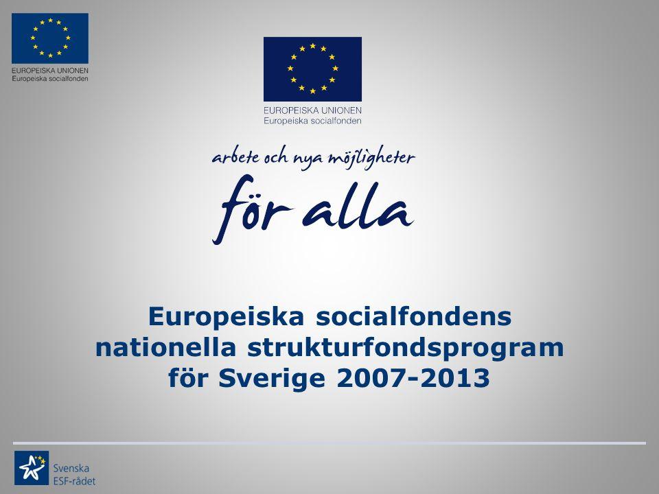 Europeiska socialfondens nationella strukturfondsprogram för Sverige 2007-2013