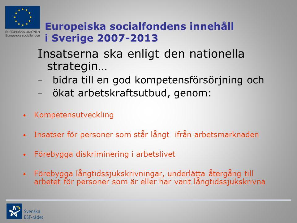 Europeiska socialfondens innehåll i Sverige 2007-2013 Insatserna ska enligt den nationella strategin… – bidra till en god kompetensförsörjning och – ökat arbetskraftsutbud, genom: Kompetensutveckling Insatser för personer som står långt ifrån arbetsmarknaden Förebygga diskriminering i arbetslivet Förebygga långtidssjukskrivningar, underlätta återgång till arbetet för personer som är eller har varit långtidssjukskrivna